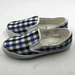 fa0d98de1d1 Topshop Shoes - NEW Topshop Blue Plaid Women s Loafers 5.5